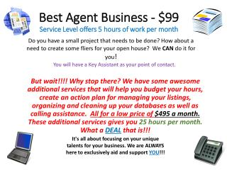 Best Agent Business - $99 Service Level offers 5 hours of work per month