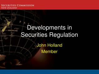 Developments in Securities Regulation