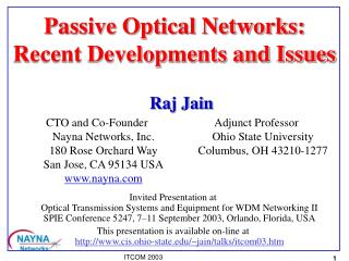 Passive Optical Networks:  Recent Developments and Issues
