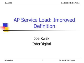 AP Service Load: Improved Definition