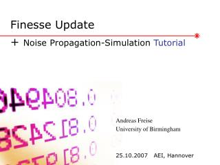 Finesse Update  +  Noise Propagation-Simulation  Tutorial