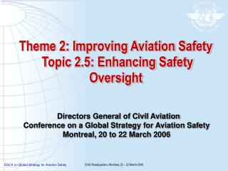Theme 2: Improving Aviation Safety  Topic 2.5: Enhancing Safety Oversight