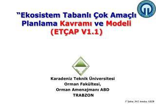 Karadeniz  T eknik Üniversitesi Orman  Fakültesi, Orman Amenajmanı ABD T RABZON