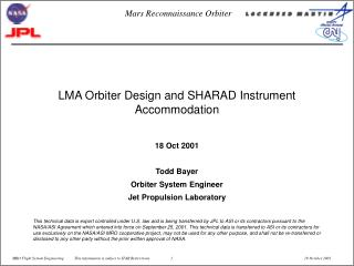 LMA Orbiter Design and SHARAD Instrument Accommodation