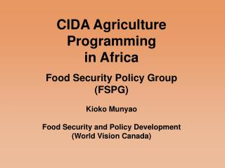 CIDA Agriculture Programming in Africa
