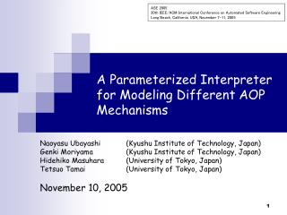 A Parameterized Interpreter for Modeling Different AOP Mechanisms
