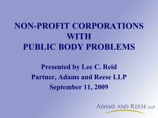 NON-PROFIT CORPORATIONS  WITH PUBLIC BODY PROBLEMS