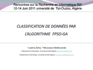Classification de données par l'algorithme  FPSO-GA
