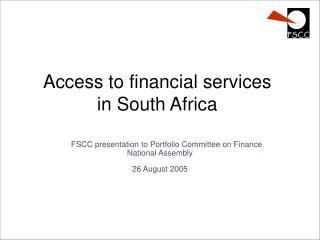 Access to financial services  in South Africa