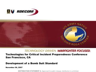 Technologies for Critical Incident Preparedness Conference San Francisco, CA