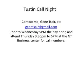 Tustin Call Night