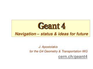 Navigation  –  status & ideas for future