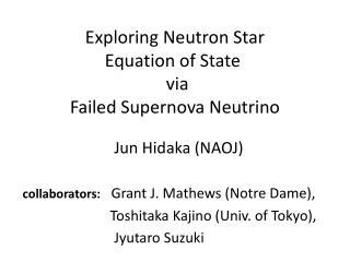 Exploring  N eutron  S tar  Equation  of S tate  via F ailed  Supernova  N eutrino
