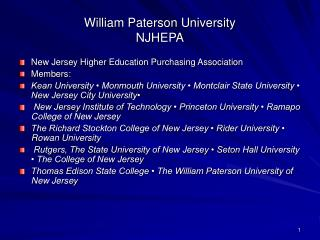 William Paterson University NJHEPA