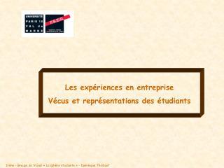 Les expériences en entreprise  Vécus et représentations des étudiants
