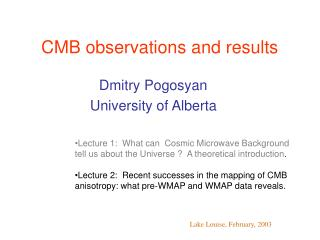 CMB observations and results