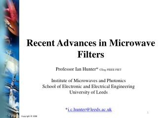Recent Advances in Microwave Filters