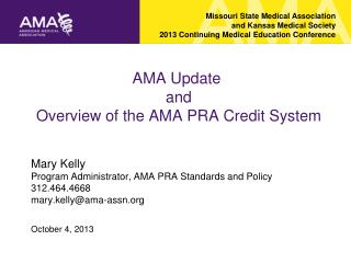 AMA Update   and  Overview of the AMA PRA Credit System