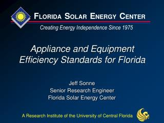 Appliance and Equipment Efficiency Standards for Florida