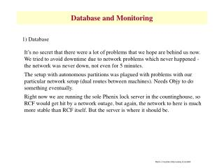 Database and Monitoring