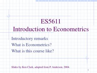 ES5611 Introduction to Econometrics