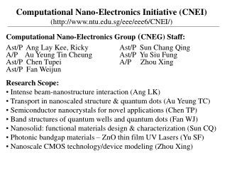 Computational Nano-Electronics Initiative CNEI ntu.sg