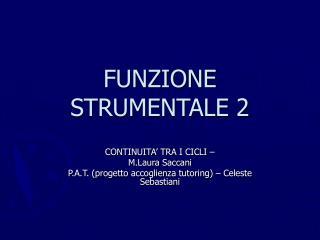FUNZIONE STRUMENTALE 2
