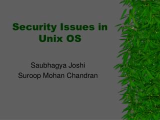 Security Issues in Unix OS