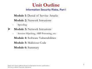 Unit Outline Information Security Risks, Part I