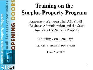Training on the Surplus Property Program