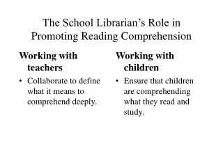 The School Librarian s Role in Promoting Reading Comprehension