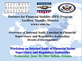 Workshop on Internal Audit of Financial Sector Supervisory and Regulatory Authorities