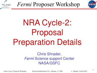 Fermi  Proposer Workshop