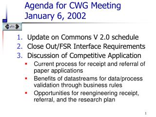 Agenda for CWG Meeting  January 6, 2002