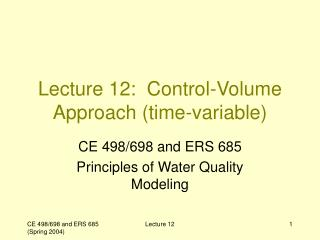 Lecture 12:  Control-Volume Approach (time-variable)