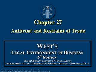 Chapter 27 Antitrust and Restraint of Trade