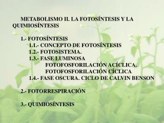METABOLISMO II. LA FOTOSÍNTESIS Y LA QUIMIOSÍNTESIS 1.- FOTOSÍNTESIS