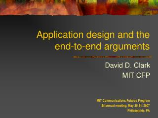 Application design and the end-to-end arguments