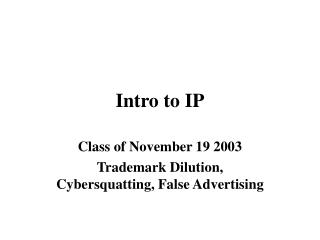 Intro to IP