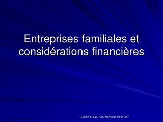 Entreprises familiales et considérations financières