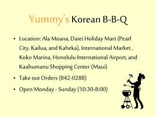 Yummy s Korean B-B-Q