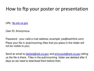 How to ftp your poster or presentation