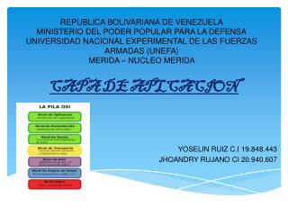 CAPA DE APLCACION YOSELIN RUIZ C.I 19.848.443 JHOANDRY RUJANO  CI 20.940.607