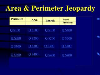 Area & Perimeter Jeopardy