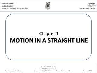 Chapter 1  MOTION IN A STRAIGHT LINE