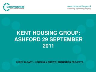 KENT HOUSING GROUP: ASHFORD 29 SEPTEMBER 2011