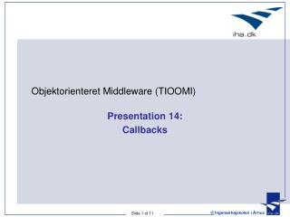 Presentation 14: Callbacks