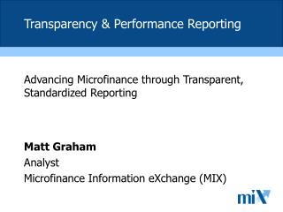 Transparency & Performance Reporting