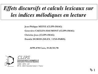 Effets discursifs et calculs lexicaux sur les indices mélodiques en lecture