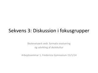 Sekvens 3: Diskussion i fokusgrupper